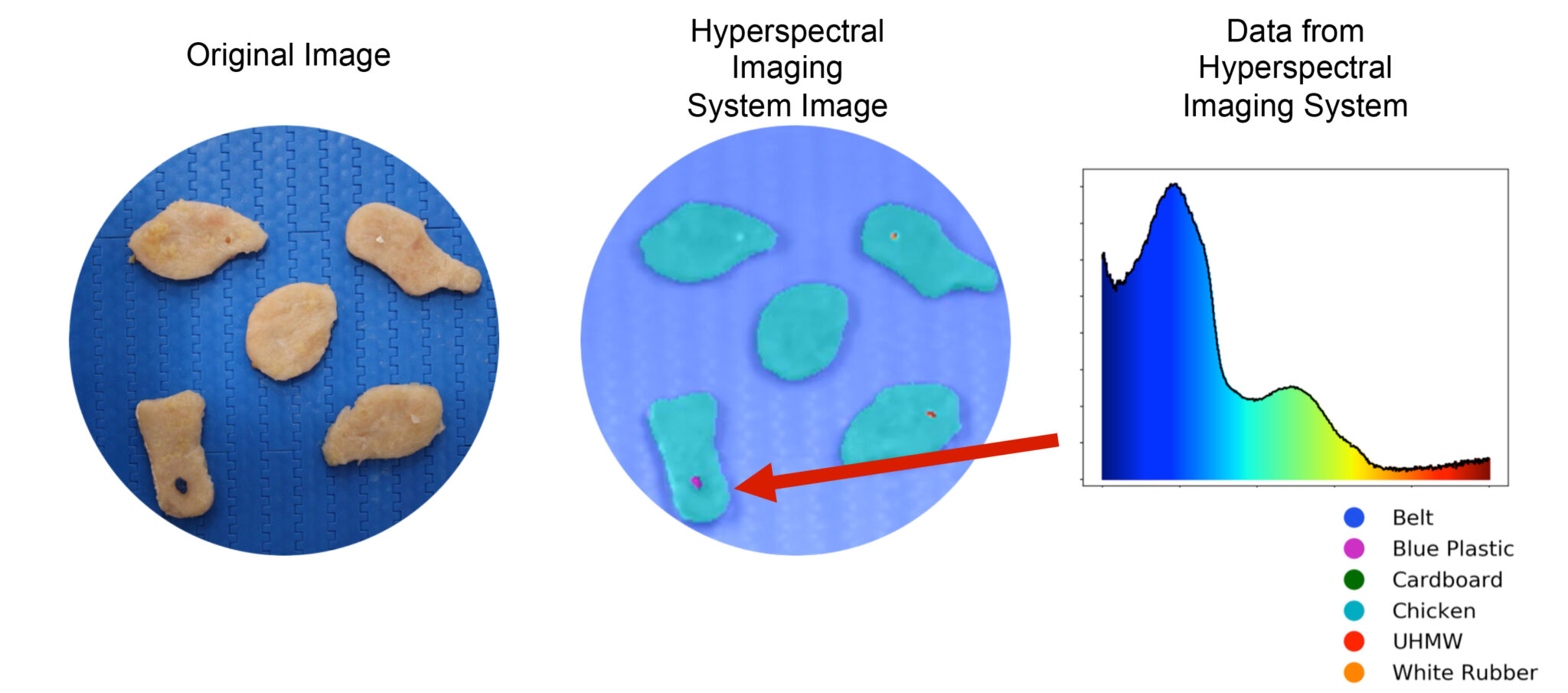 Foreign material detection on chicken nuggets using hyperspectral imaging