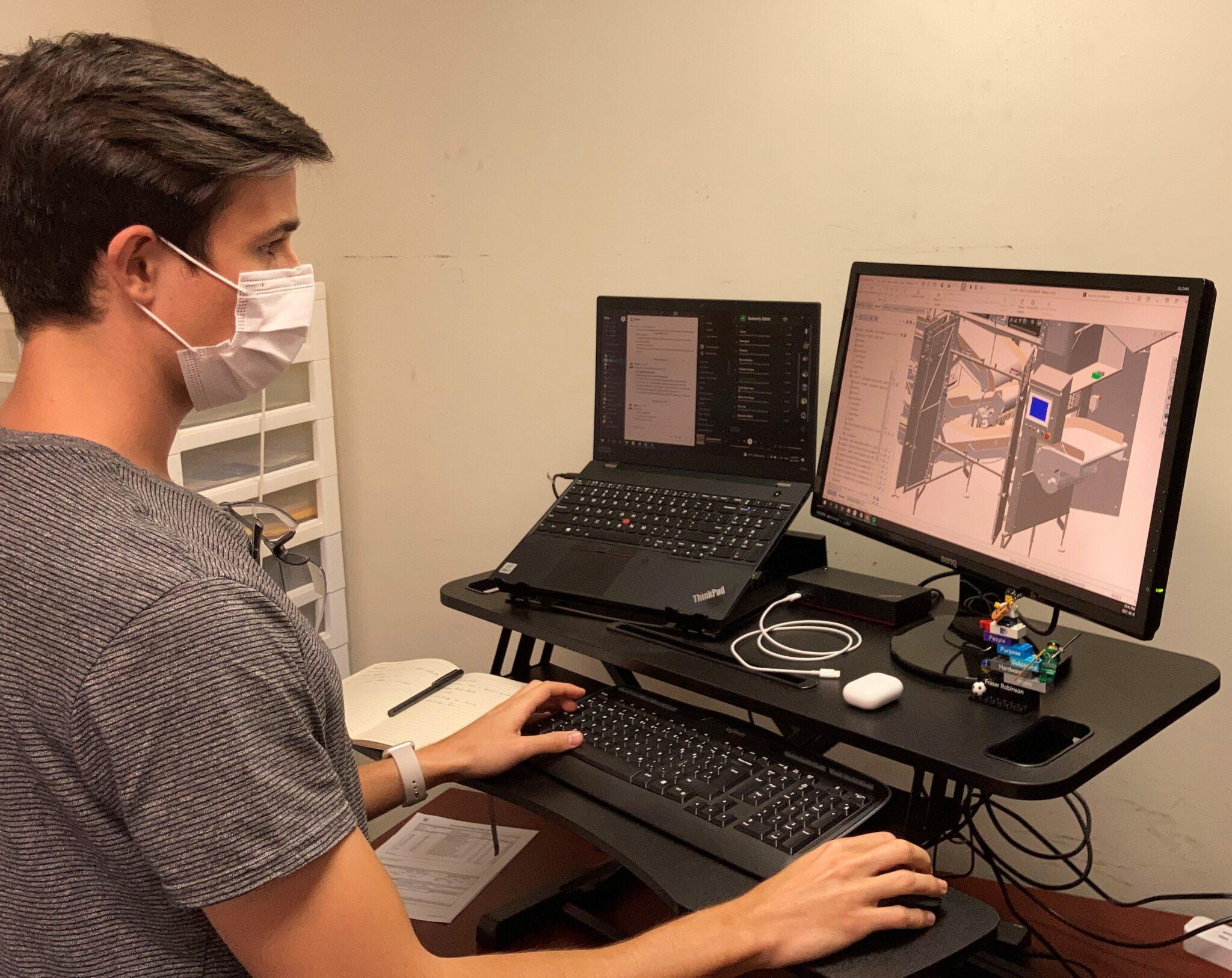 Fraser working on solidworks