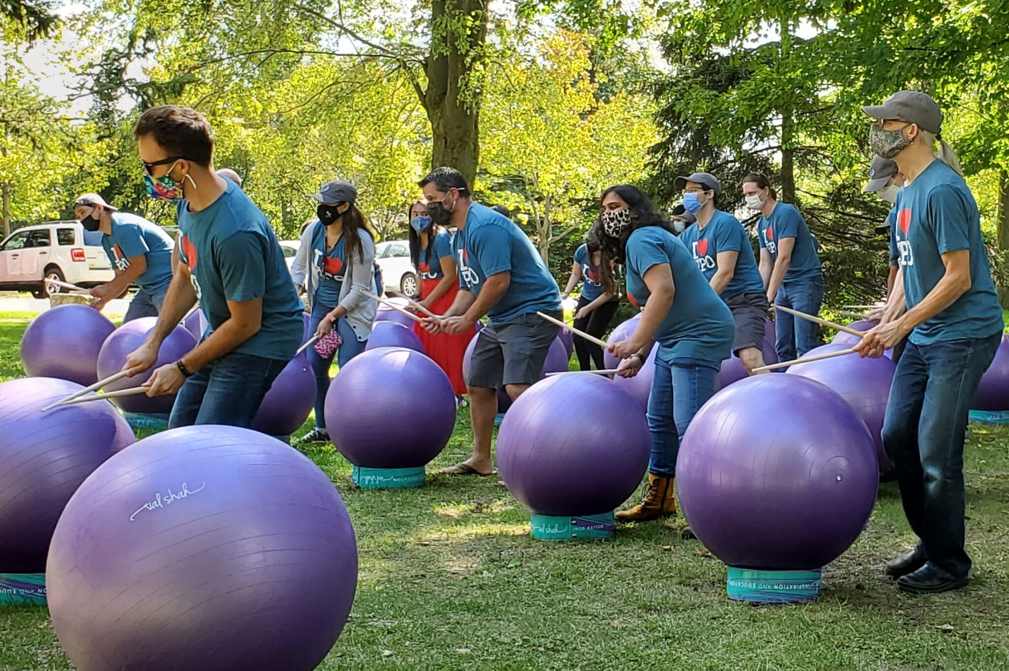 PPO playing drums on exercise balls